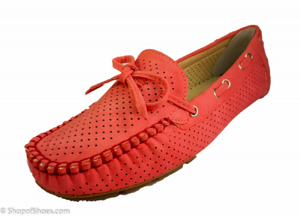 comfortable red ladies summer moccasin shoe